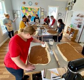 Bread lady teaches cinnamon roll class