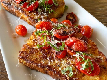 Gruyere-crusted Savory French Toast with Tomatoes bread lady tv